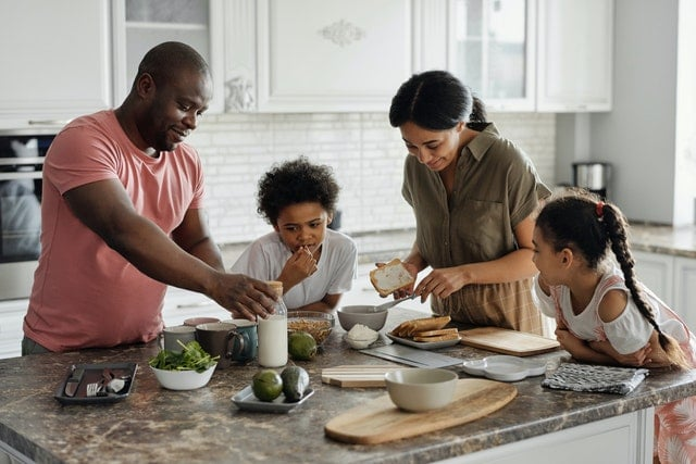 Picture of a family making a meal