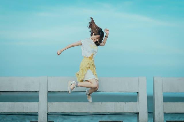 Healthy woman jumping