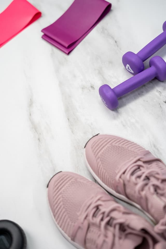 Picture of gym shoes and weights